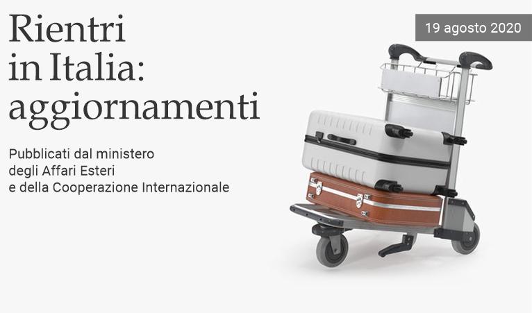 Rientri in Italia: aggiornamenti